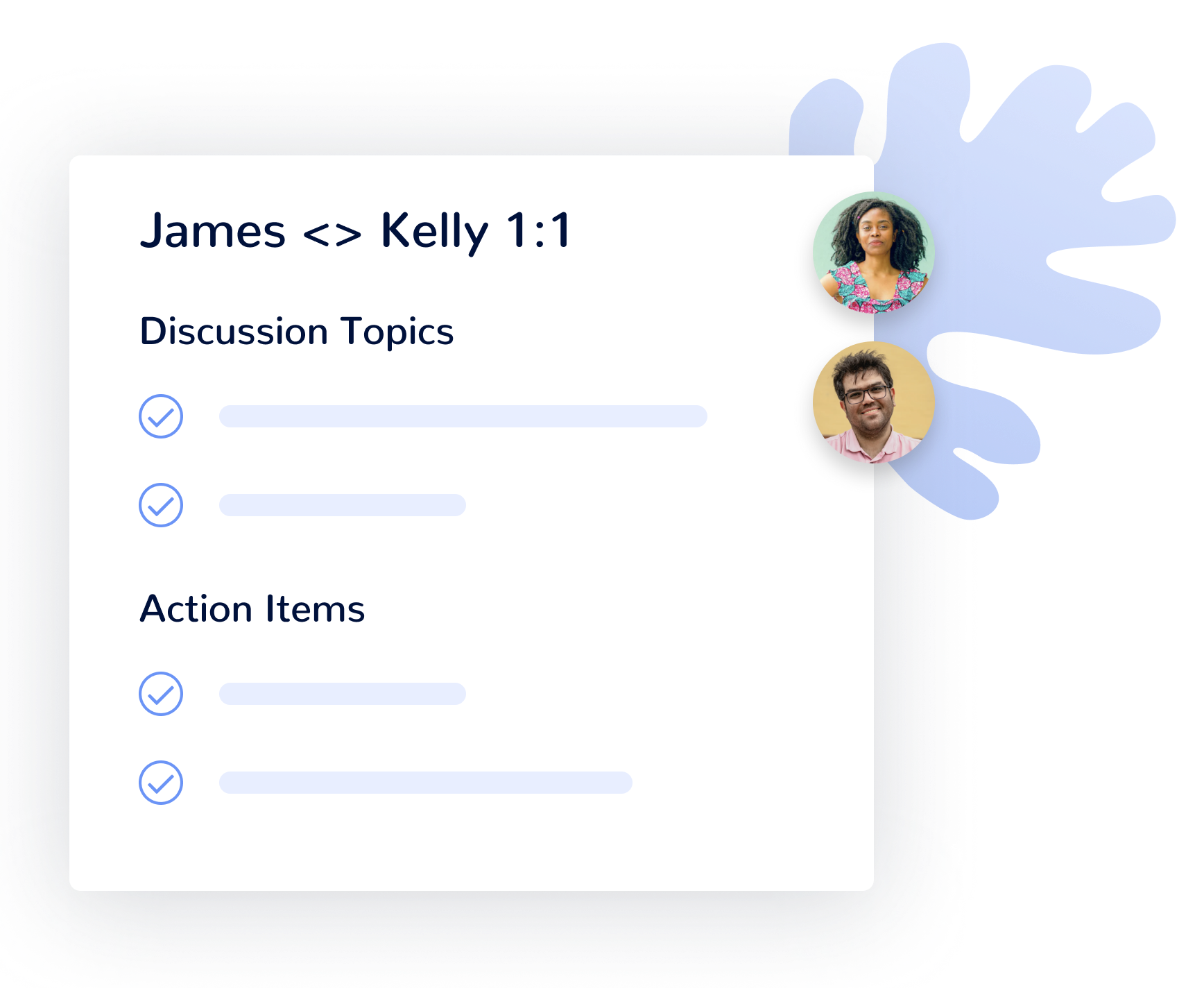 Agenda manager showing collaborative team functionality