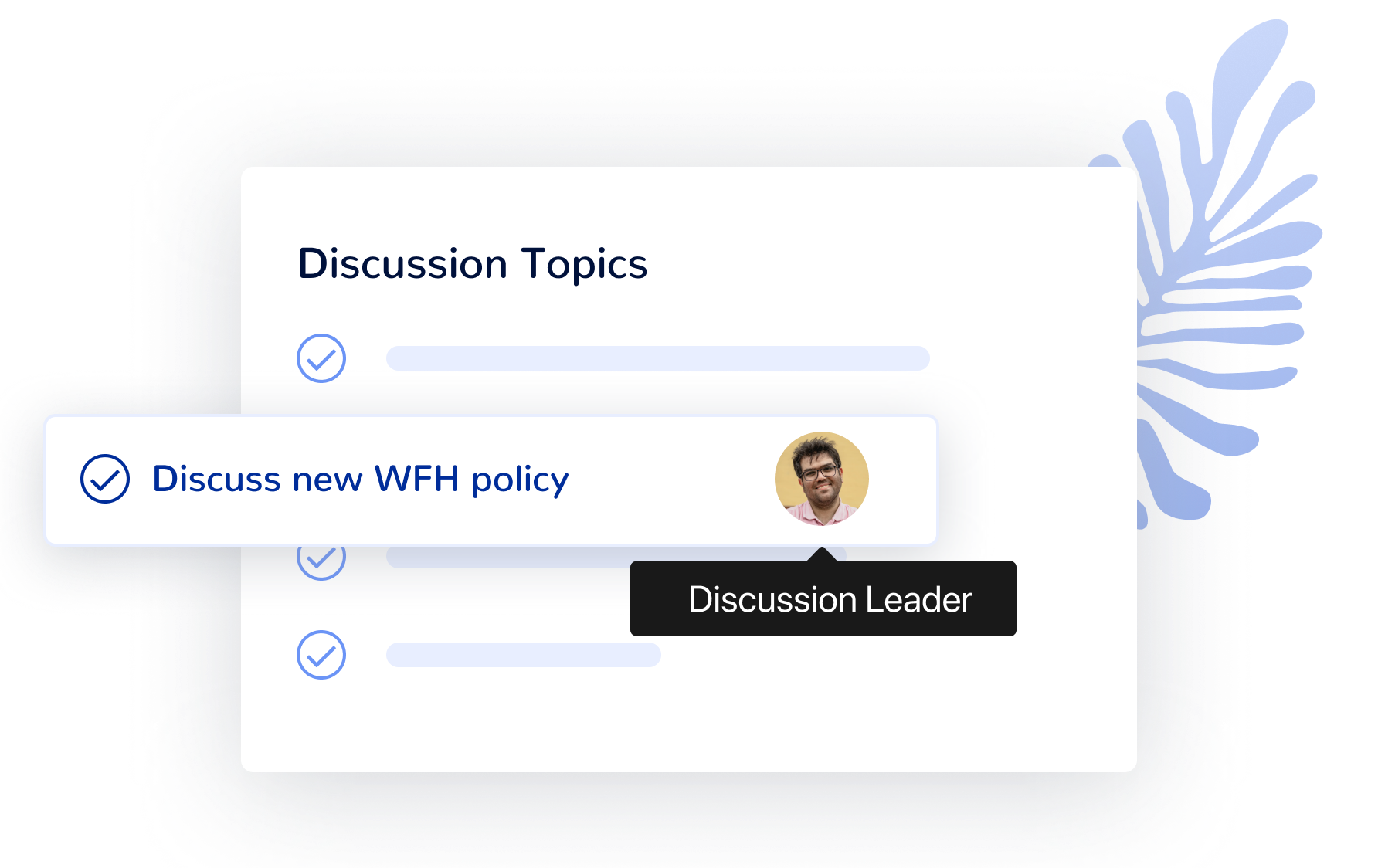 Create discussion topics for collaborative asynchronous team