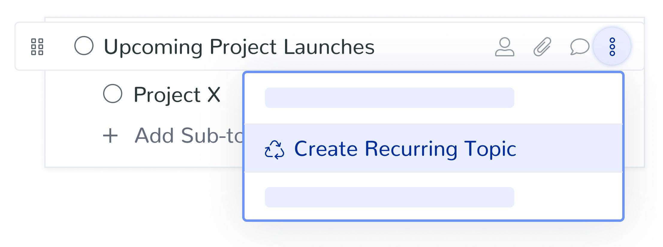 Make discussion topics recurring so you can check in on progress or changes of projects
