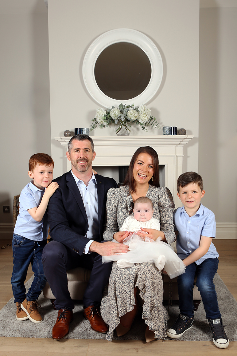 Jenny Callanan Photography Family Portraits, baby girl celebrates christening with her family