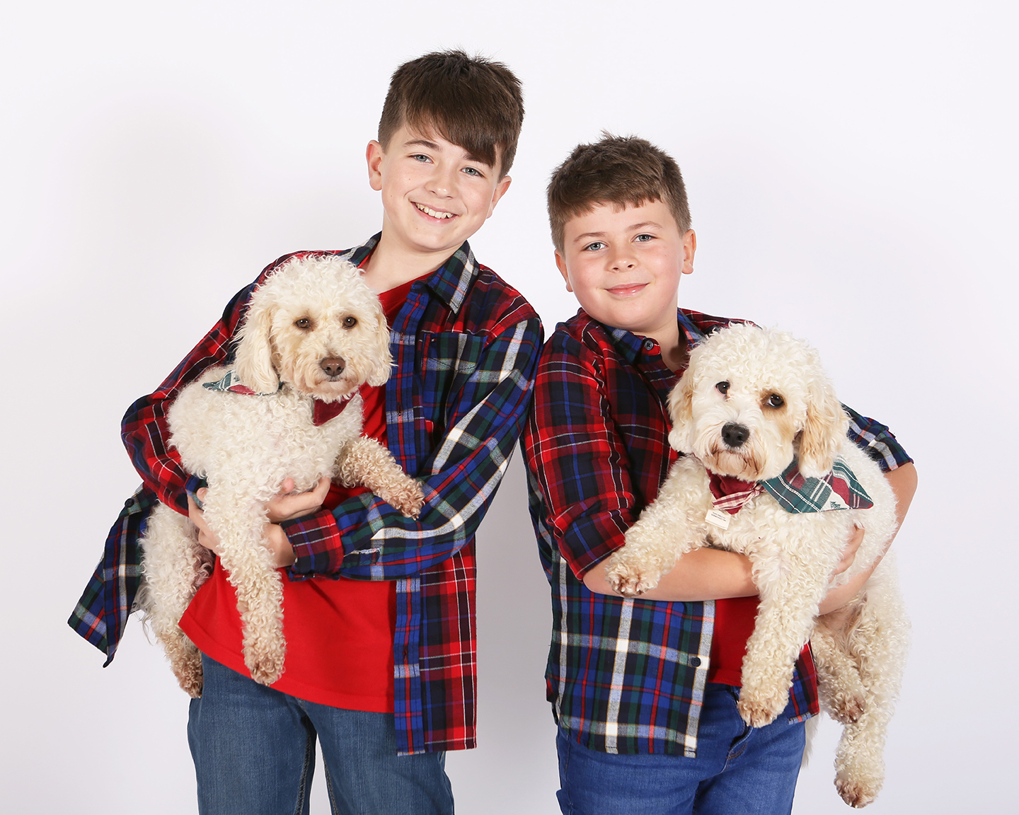 Jenny Callanan Photography Family Portraits, two brothers with their dogs