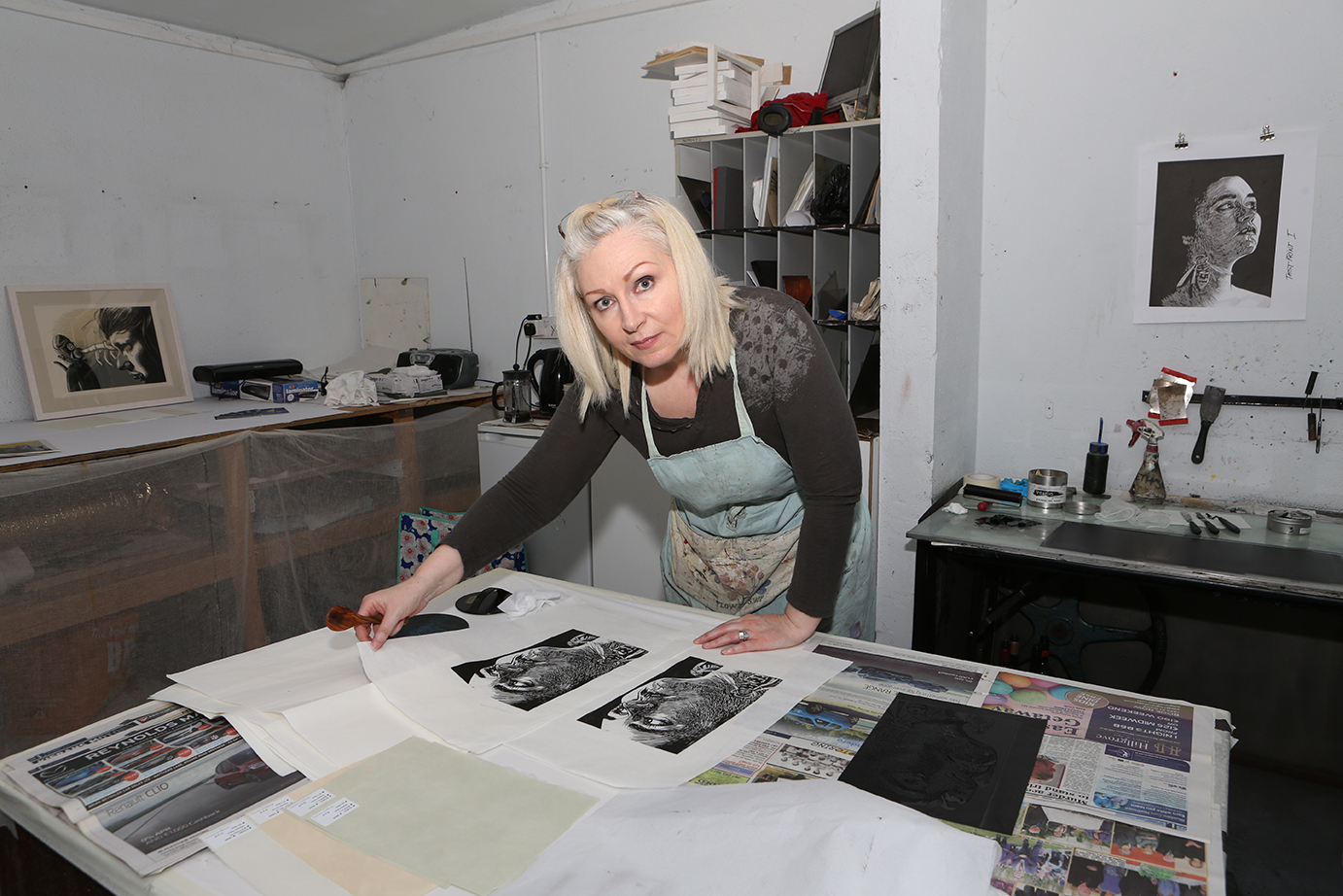 Business Portraits and Headshots by Jenny Callanan Photography, artist Jackie Hudson Lalor in a print making studio