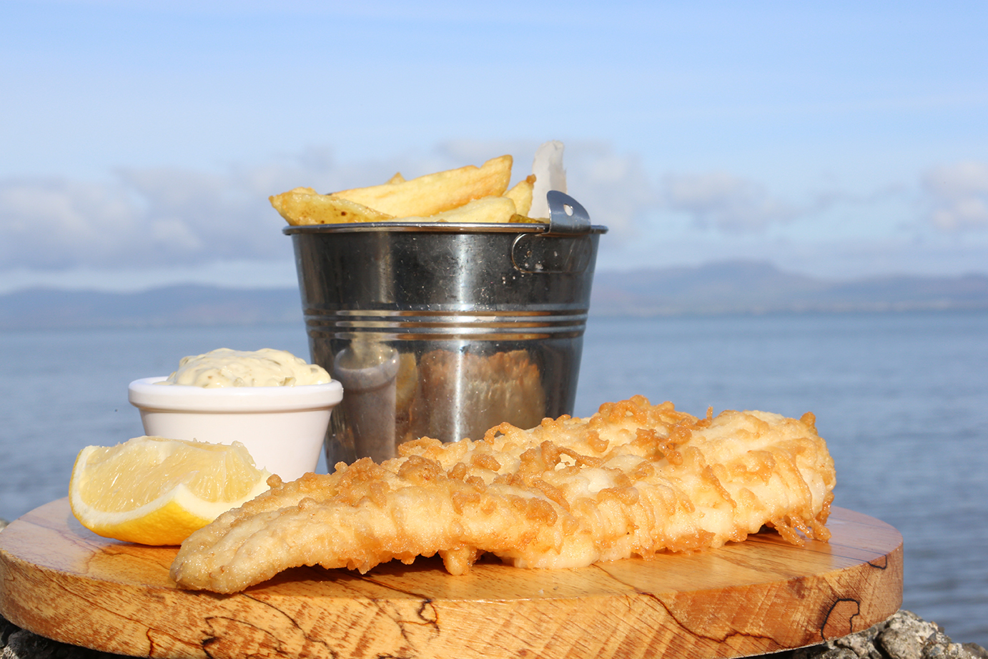 Product and Food Photography by Jenny Callanan Photography, fish and chips with a blue sky beside the sea, Glyde Inn Annagassan