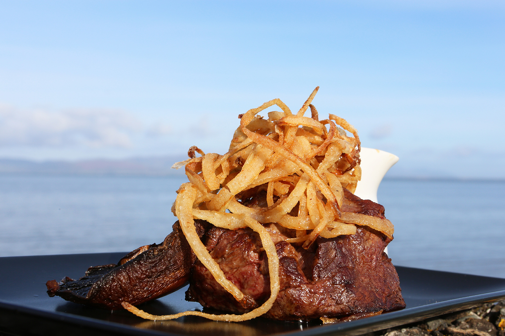 Product and Food Photography by Jenny Callanan Photography, Steak with a blue sky beside the sea, Glyde Inn Annagassan