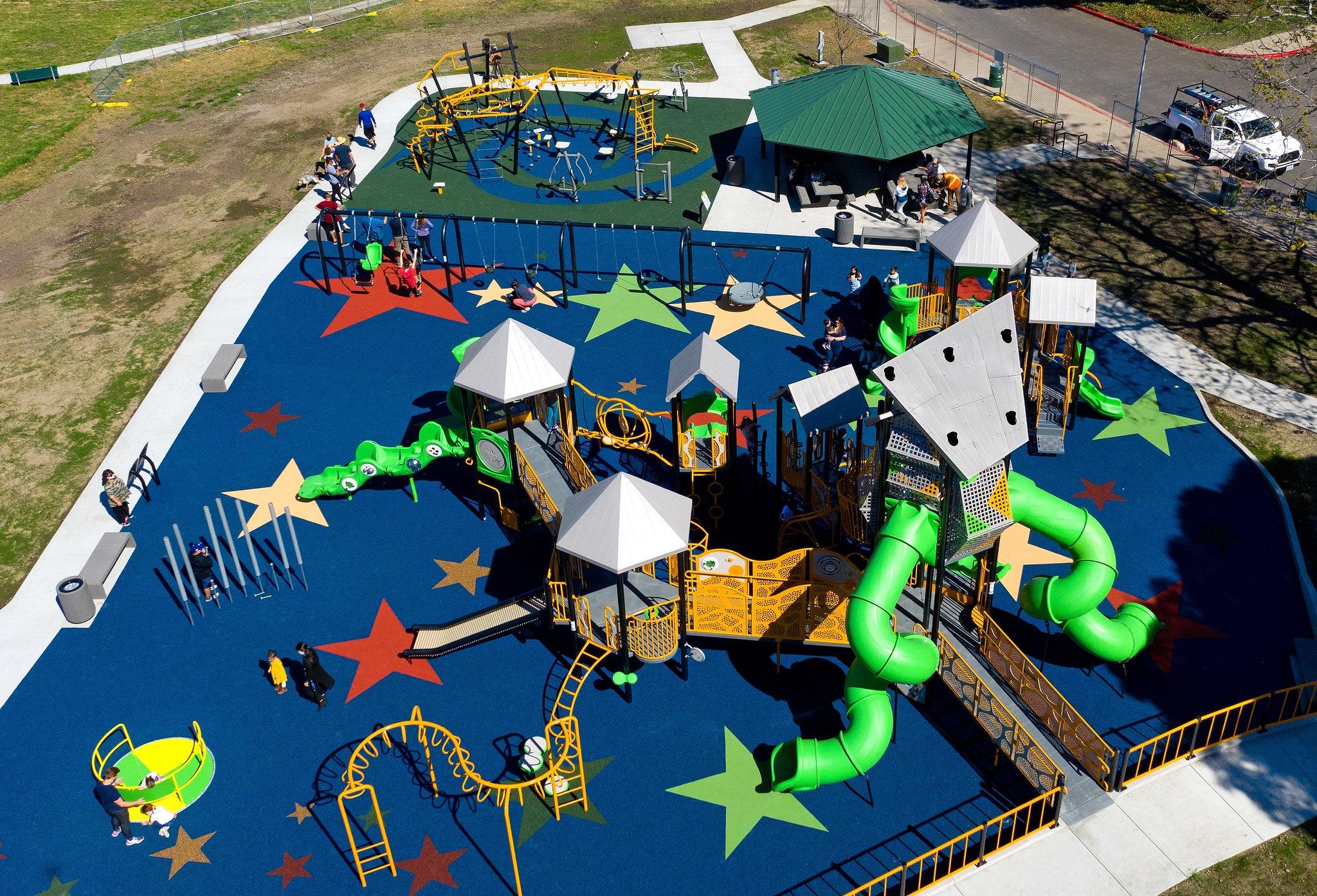 overhead view of new playground equipment setup