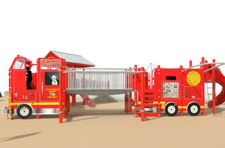 The nonprofit Shane's Inspiration designed The Park's first responders-themed play structure, engineered to be accessible to special needs children.