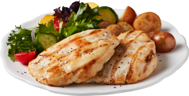 Chicken breast portions with salad and potatoes
