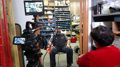 Interview being shot for Davidson County Community College's plumbing program.