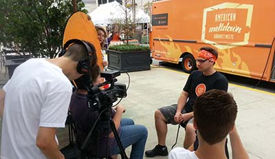 Sidewalk interview shot from our Street Foodie Diaries YouTube series.