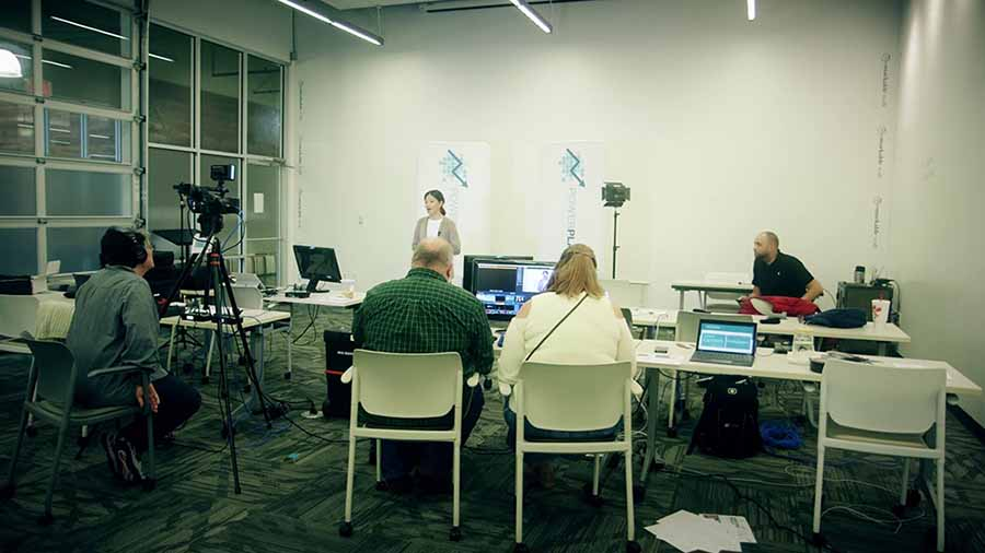 A live webcast being produced.