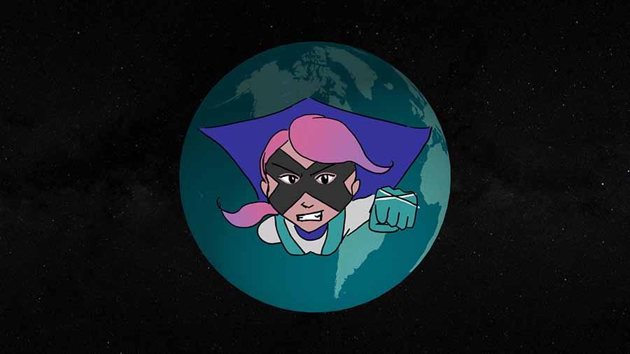 Cartoon super hero flying toward you from the Earth.