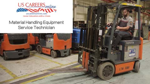 A material handling equipment technician testing out a forklift.