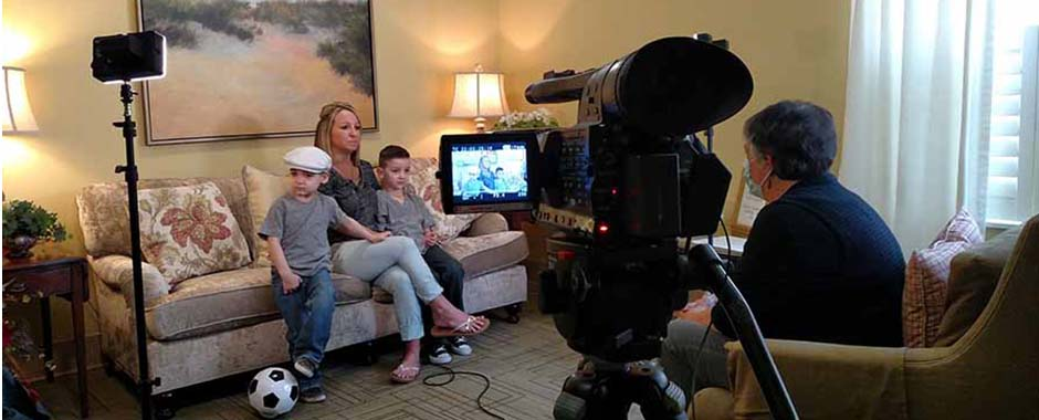 A mother and her sons during a video interview at a Ronald McDonald House in Durham, North Carolina.