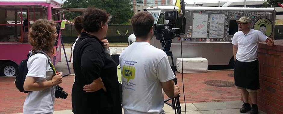 A food truck owner being interviewed in Raleigh, North Carolina.