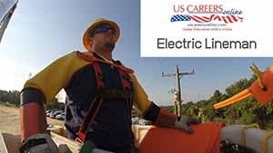 An electric lineman in a bucket truck.