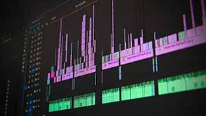 A computer screen showing a video editing timeline.