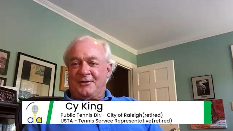 Cy King giving a Zoom interview from his home.