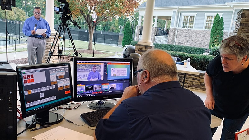 A live webcast being produced at a Raleigh North Carolina tennis club.