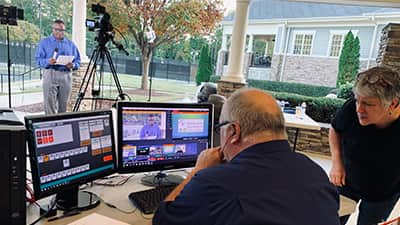 A live webcast being produced at a tennis club in Raleigh, North Carolina.