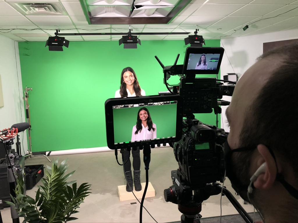 Filming at studio G