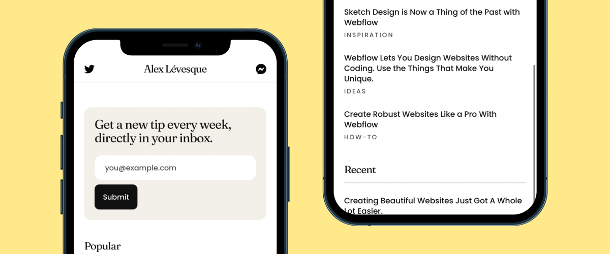 Links Webflow Template Layout #1 mocked up on an iPhone.