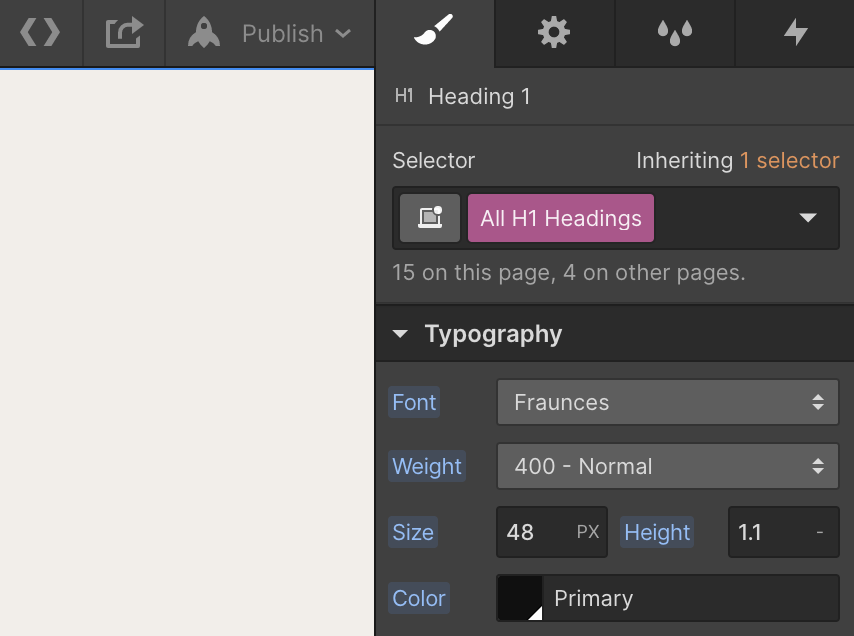 A screenshot showing how to change the typography for All H1 Headings elements.