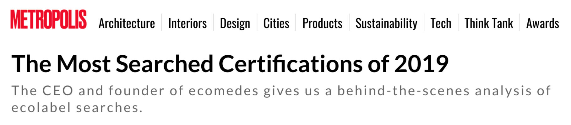 Metropolis Magazine: The Most Searched Certifications of 2019