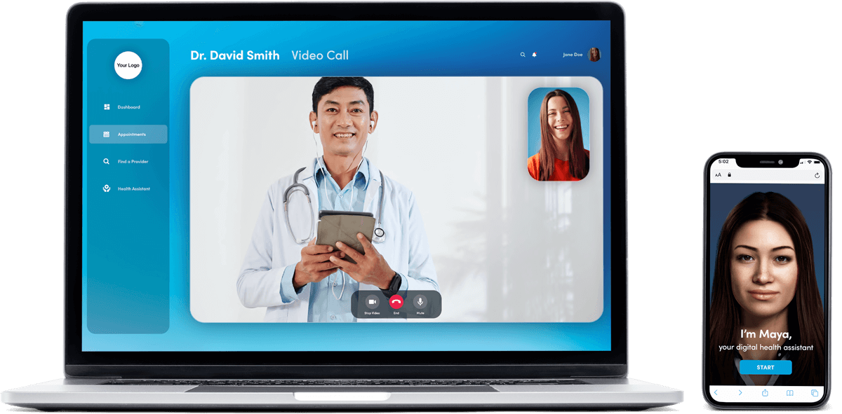 MayaMD telemedicine platform with one of the most advanced AI health assistants available built in. Telehealth technology solutions for patient engagement, remote patient monitoring (RPM), virtual healthcare and more.