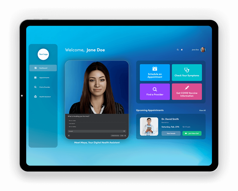 MayaMD telemedicine platform with one of the most advanced AI health assistants available built in. Telehealth technology solutions for patient engagement, triage, virtual healthcare, remote patient monitoring (RPM) and more.