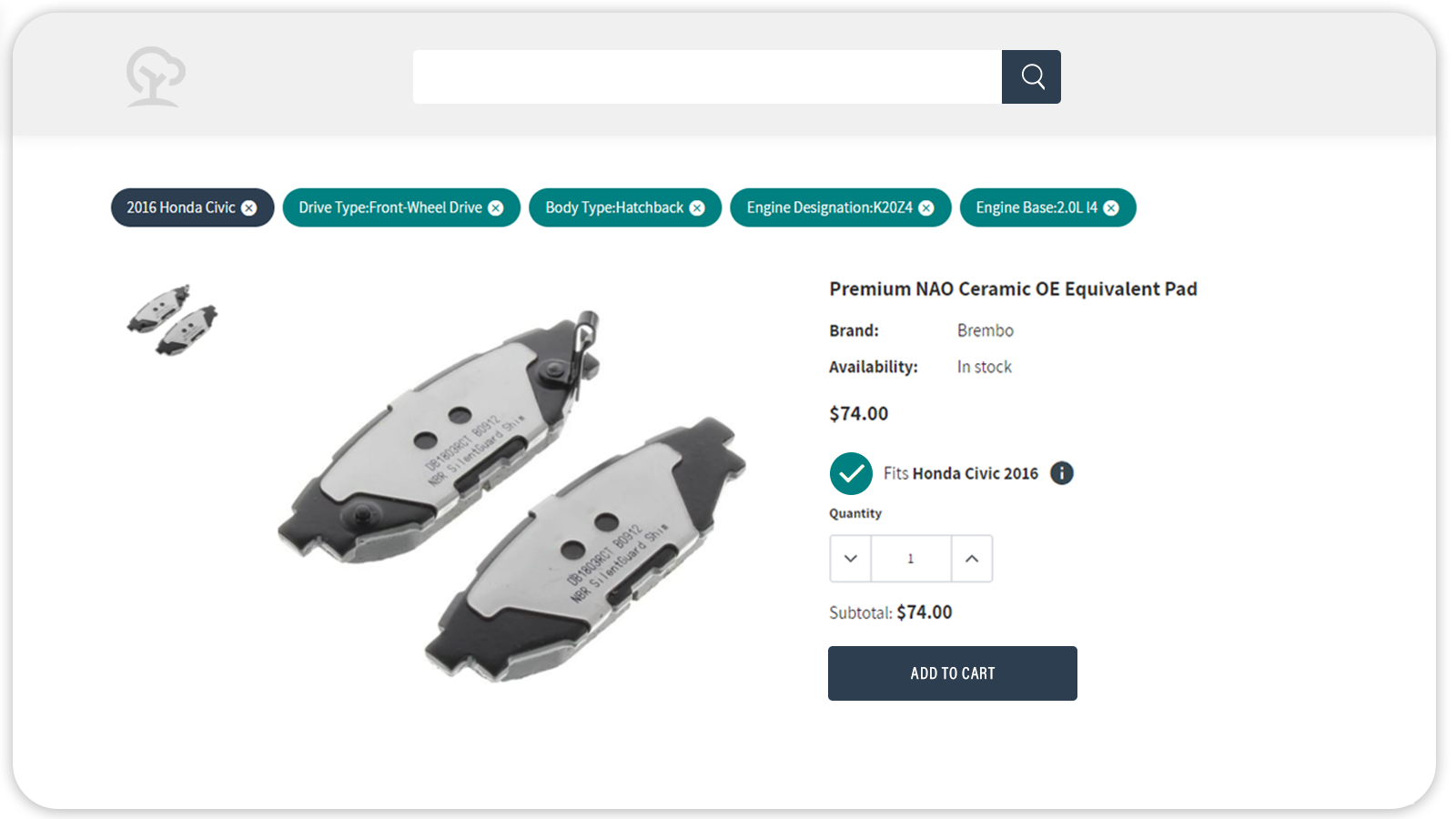 Product page of auto parts manufacturers website