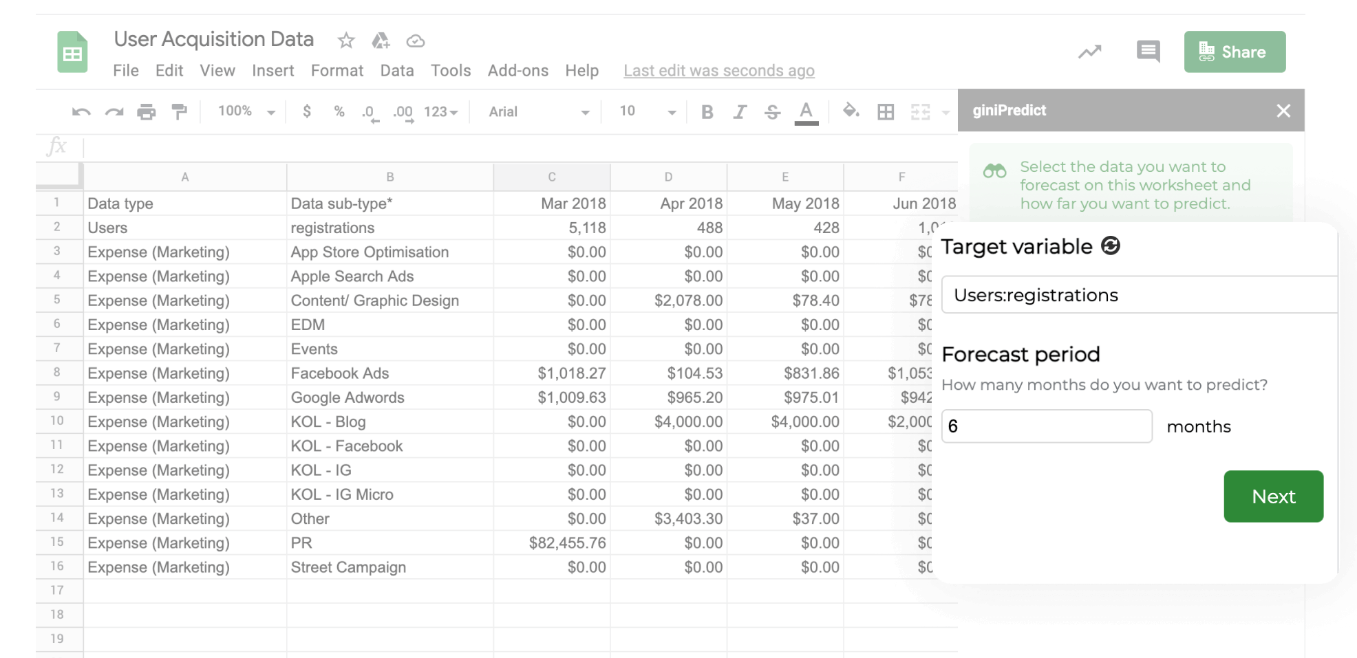 giniPredict Google Sheet add-on | How to predict user acquisition with machine learning