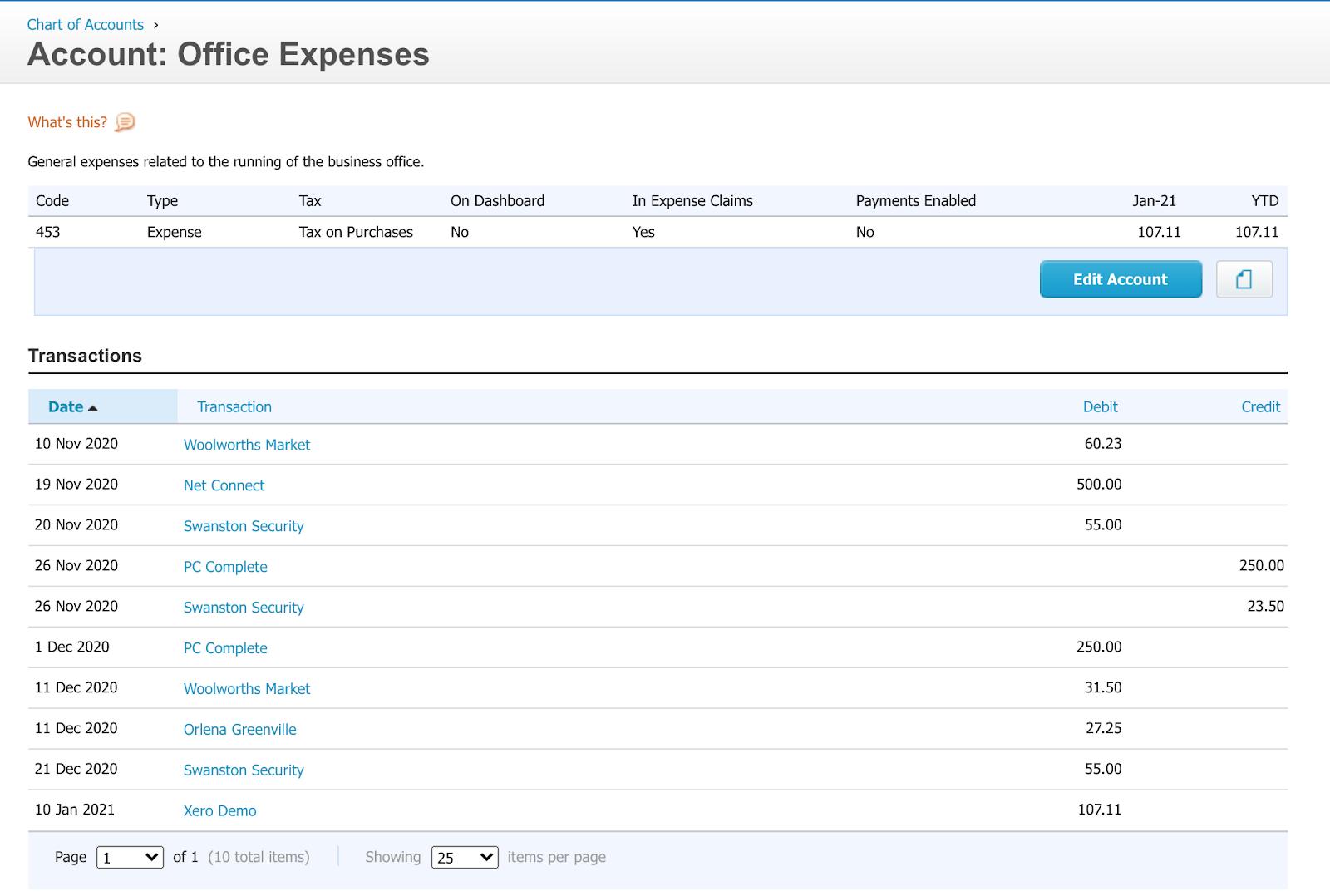 Xero account office expenses