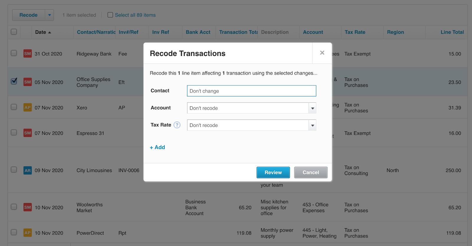 Xero recode transactions