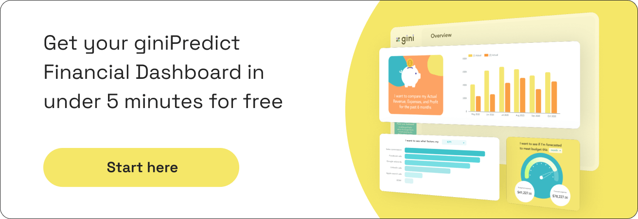 Get your giniPredict financial dashboard in under 5 minutes for free CTA banner