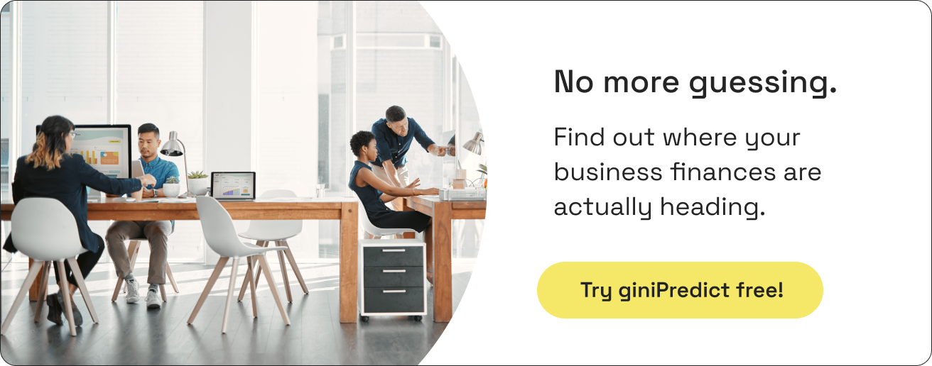Find out where your business finances are actually heading   Try giniPredict free button