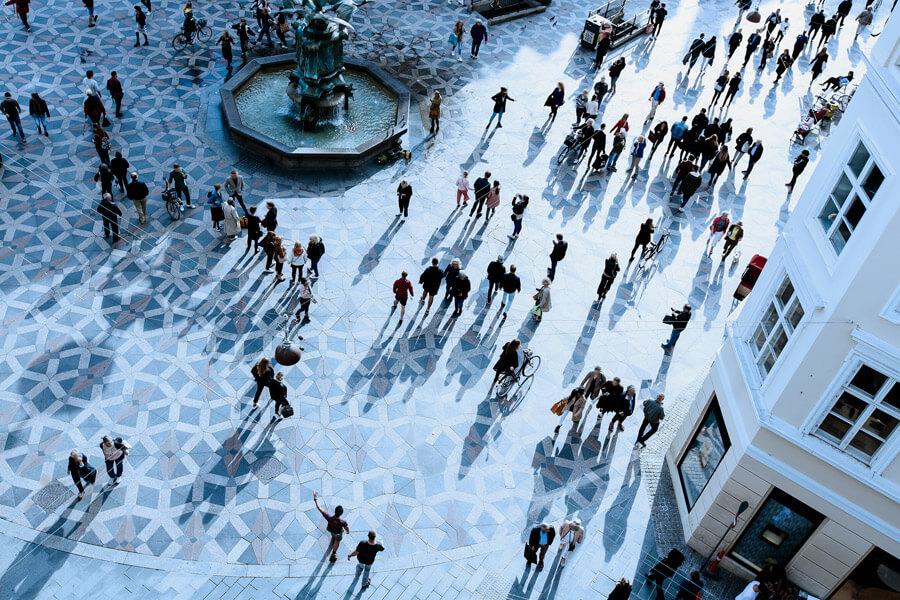 Crowded plaza