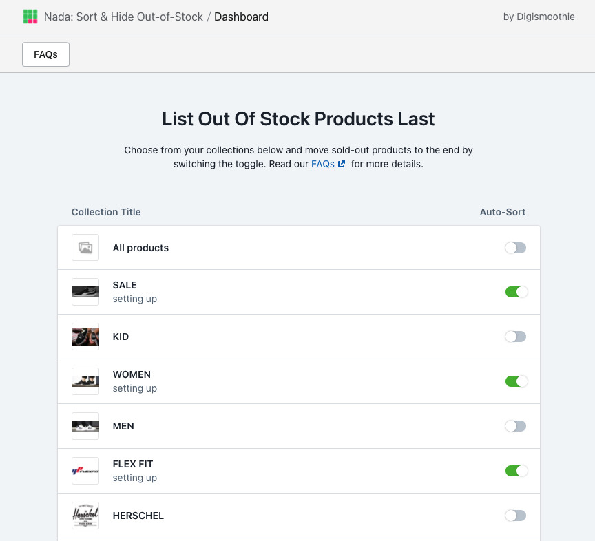 The dashboard of the Nada: Sort & Hide Out‑of‑Stock app