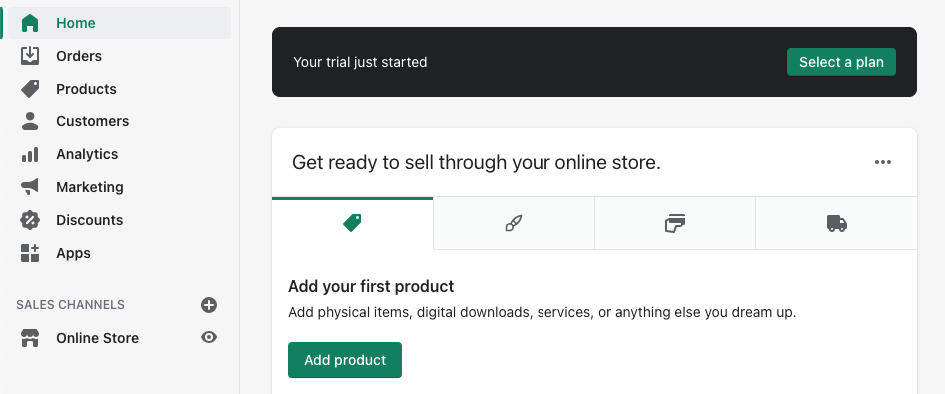 Enrolling in Shopify Free Trial Step 5 – Setting up the store