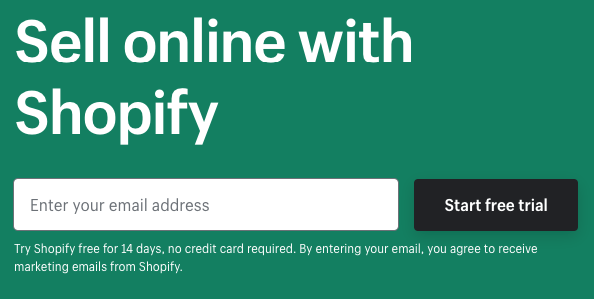 Enrolling in Shopify Free Trial Step 1 – Entering an e-mail address