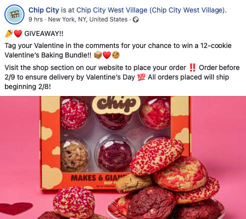 Example of Valentine's giveaway from Chip City store