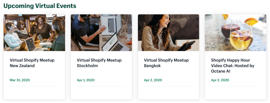 Shopify is hosting online virtual events for its merchants to attend
