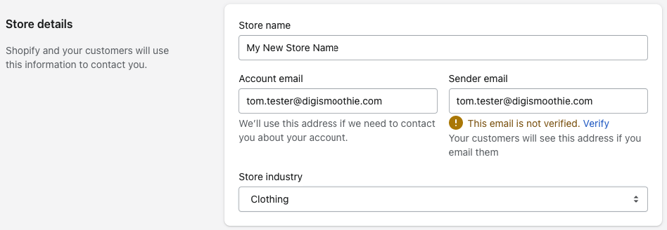 Changing Shopify store name