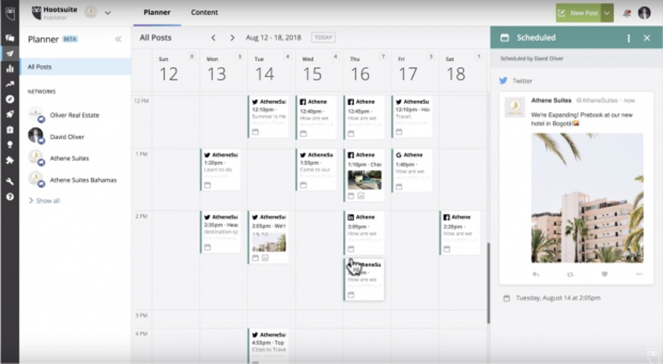 Hootsuite can be used to schedule your social media content ahead of time, which is perfect if you want things to run smoothly without direct oversight