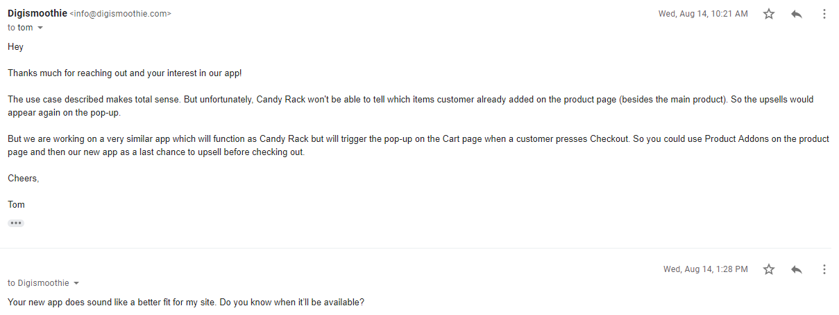 Example of a Discussion About Candy Cart App With Our Merchants