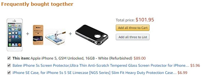 Amazon's frequently bought together bundle offer