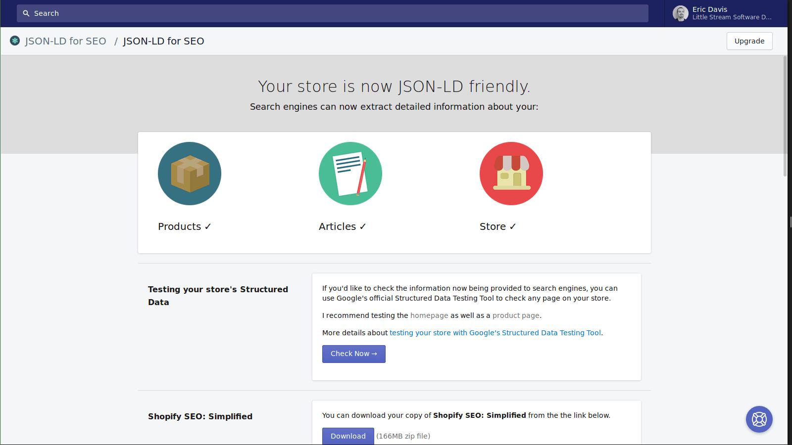 Screenshot of the JSON-LD for SEO dashboard