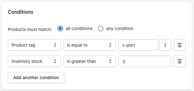 Setting inventory stock condition in Shopify