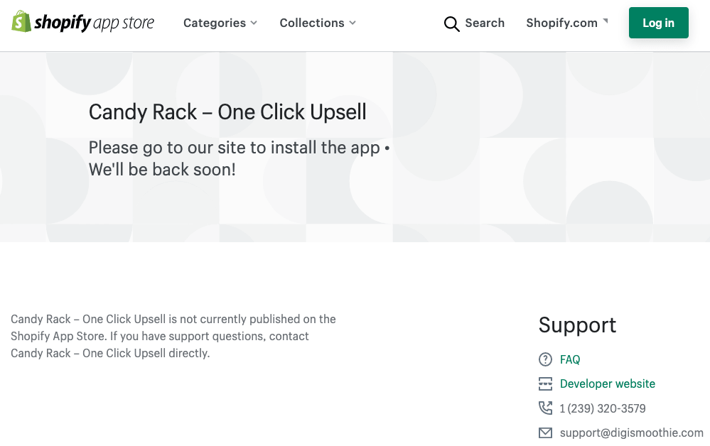 Sad view of the current Candy Rack listing on the Shopify App Store