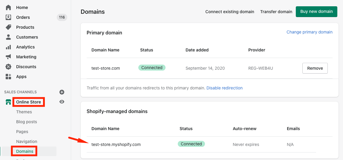 Overview of the Shopify domains including Shopify-managed one