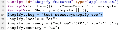 Viewing page source code to reveal myshopify.com domain